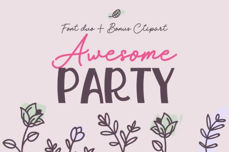 Preview image of Awesome Party Font Duo + Extras